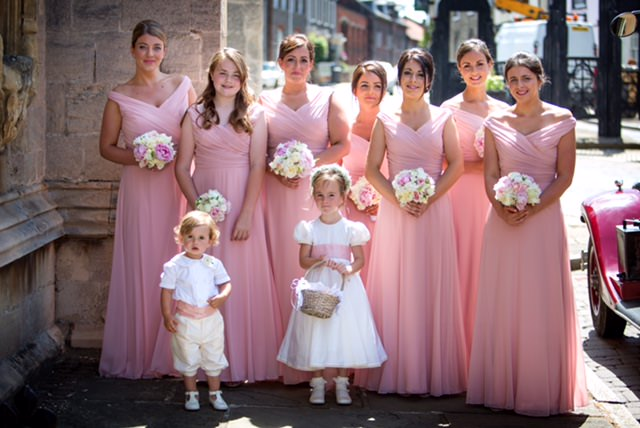 Flower girl dress and page boy outfit matching the bridesmaid dresses Little Eglantine