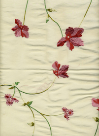 Ivory taffeta embroidered with pink flowers