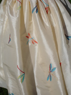 Ivory taffeta with dragonflies (ref F42)