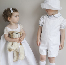 Christening dresses, christening outfits for boys, page boy outfits by French designer Little Eglantine