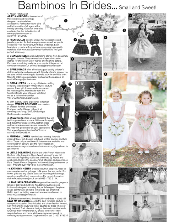 Little Eglantine flower girl dresses in Brides Magazine