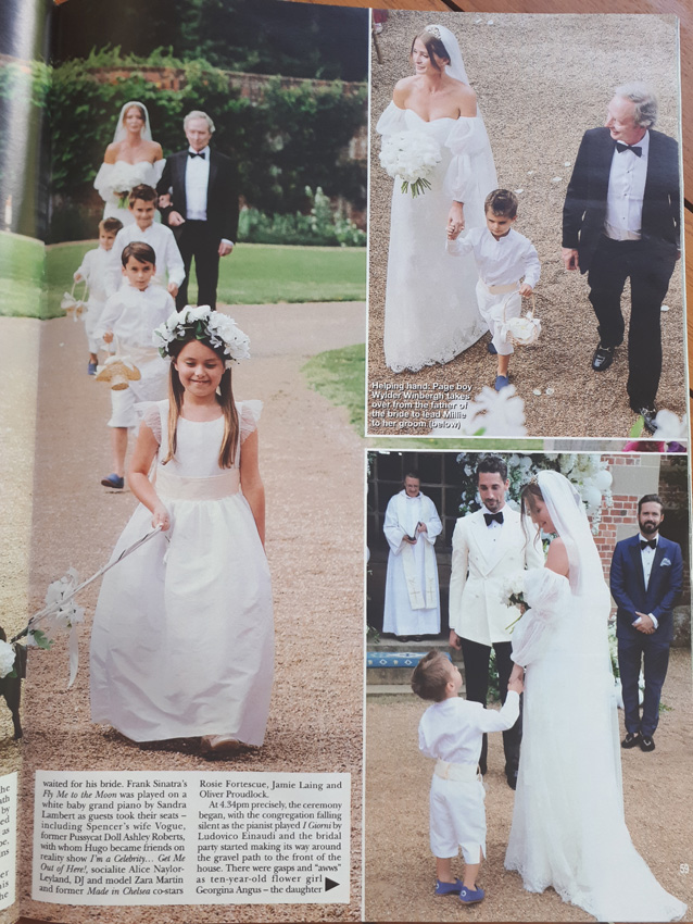 Hello Magazine - Millie Mackintosh wedding - Little Eglantine flower girl dress and page boy outfits