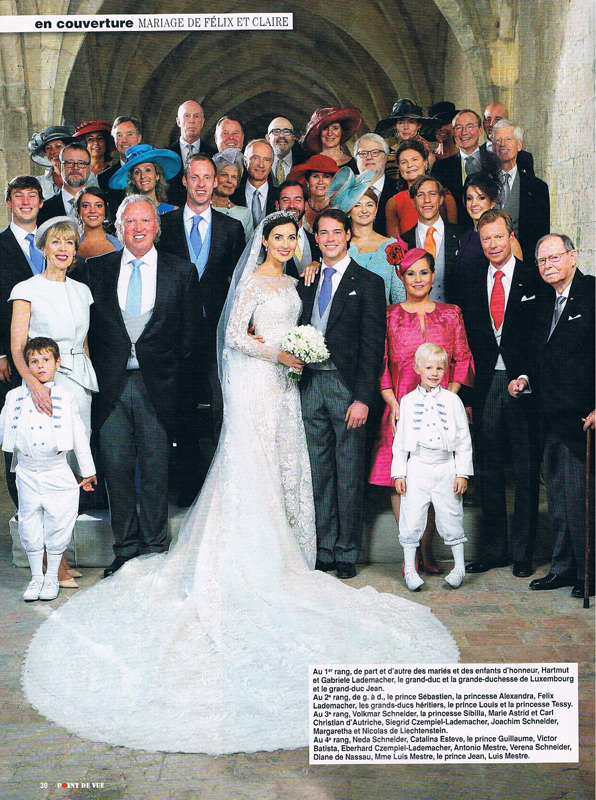 Point de vue - wedding of Claire Lademacher with Prince Felix of Luxembourg. Little Eglantine designed the flower girl dresses and page boy outfits