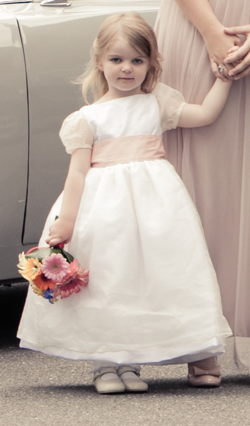 Alix flower girl dress silk organza and pink sash