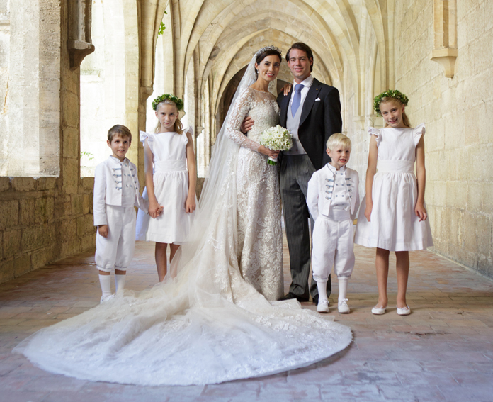 Bespoke flower girl dresses and bespoke page boy outfits by French Royal designer Little Eglantine for Princess Claire of Luxembourg wedding