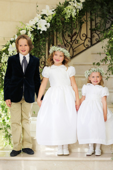 White flower girl dress little eglantine real wedding