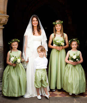 Green flower girl dresses and page boy outfits _ real weddings_ little eglantine