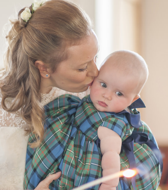 Tartan flower girl dress for a baby girl by Little Eglantine
