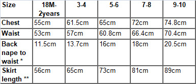 Diane dress measurements