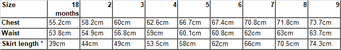 Gallia dress measurements