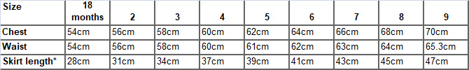 Knee length dresses measurements : Isabella and Emmanuelle