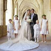 Felix and Claire with their page boys, who are Felix's nephews, Prince Gabriel ane Prince Noah of Luxembourg, and their flower girls, Flora and Katharina Doimi de Frankopan, all wearing bespoke creations by Little Eglantine . . . #clairelademacher #princessclaire #princessclaireofluxembourg #weddinganniversary #royalwedding #littleeglantine #flowergirls #pageboys #childrencouture #frenchmaisondecouture