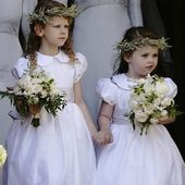 "The adorable flowergirls leaving the church for Ellie Goulding's wedding were wearing Little Eglantine ""Gallia dresses"" in white taffeta with soft grey dupion silk sashes. . . . #elliegoulding #celebritywedding #flowergirldresses #littleeglantine #frenchcouture #frenchdesigner #kidscouture #handmadewithlove"